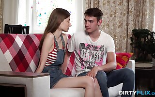 Starved Russian teenager Lia lets her beau go all someone's skin showing