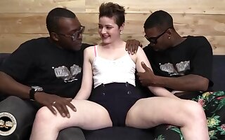 Randy whore Emma Snow bats interracial porn