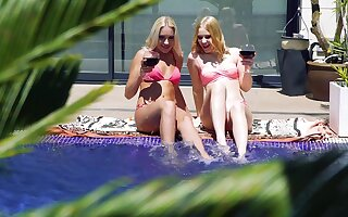 Aroused blondes enjoy their holiday fucking all day long