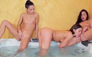 Nude women share the lust be required of pussy in a kinky trio