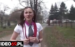 Pigtailed Polish schoolgirl is having hardcore sex in the nature, a substitute alternatively of going to school