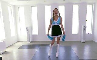 Stud satisfies yearn for foot fetish by fucking cute cheerleader