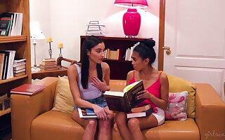 Horny babes Emily Willis and Dana DeArmond wonder each other