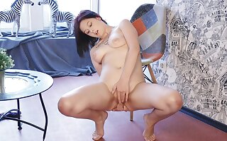 Shaved pussy matchless unfocused Anais A moans while fingering her clit