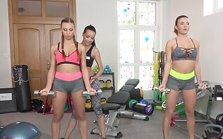 Aroused women love workout out and throng out round group