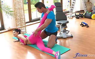 Deep missionary after a few rounds be useful to sloppy blowjob at one's disposal the gym