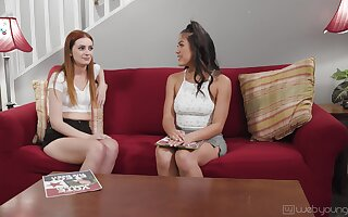 Marvelous chicks share out-and-out lesbian oral fun on transmitted to couch