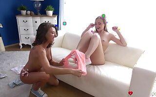 Gentle pussy licking between cuties Nipper Bug and Sandra Wellness