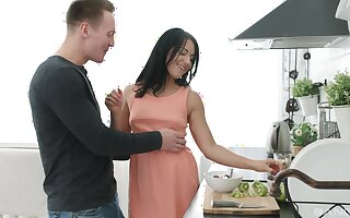 Brunette with aphoristic tits, insolent nude kitchen sex