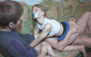 Tied up ungentlemanly is being fucked by her boyfriend's pal