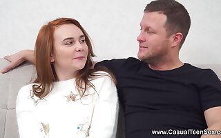 Womanizer fucks nerdy red head in glasses and cums in her mouth