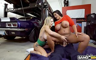 Gabbie Carter with the addition of Kailani Kai Make the beast with two backs Car Man