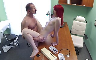 Slim cutie pie rides her doctor after he check her pussy right
