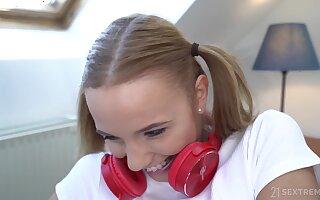 Blonde teen cutie Poppy Pleasure fucked from behind by an older guy