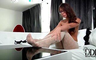 Pretty geek girl slams her own moist cootch
