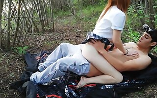 Schoolgirl gets fucked in the woods after school