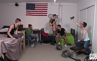 Hardcore gay group sex party with teen horny college guys
