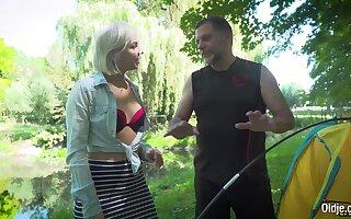 Lusty teen blonde bangs grandpa in the woods