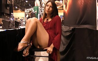 Kinky teen Melody exposes herself in public with her furry ears