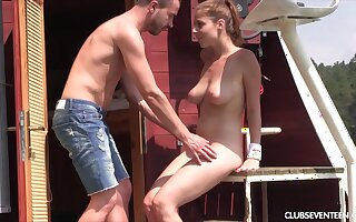 Teen babe bends over for a doggy fuck on a boat on a river
