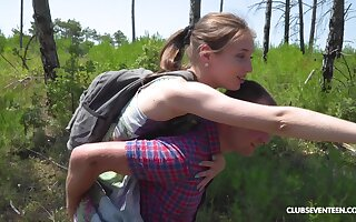 Outdoor missionary fuck and a blowjob with teen blonde cutie Vika Lita