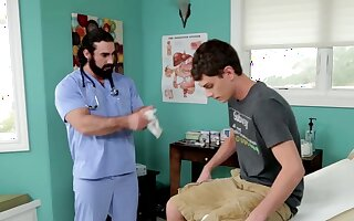 Gay doctor and his male nurse pound a white teen guys ass