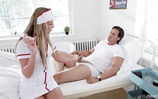 Blonde teen nurse Jenny Simons filled with two cocks at the office