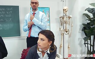 Irresistible schoolgirl Kristen Scott gets a homework from male teacher