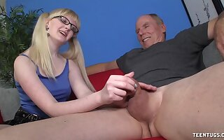 Slutty young whore wants this old male's huge gumshoe in her ass