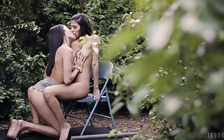 Back yard coaxing in scenes of sapphist foreplay