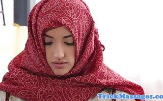 Arab teen in hijab came to palpate