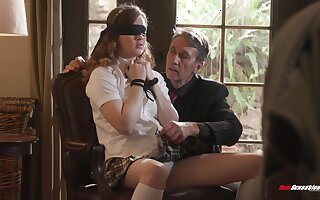 Pretty student about short skirt Devon Green is fucked wide of old professor