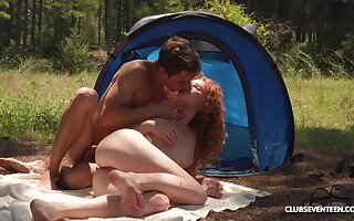 Ginger slut enjoys great camping trip fucking on all sides fixture